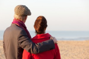 Mid aged couple looking at beach